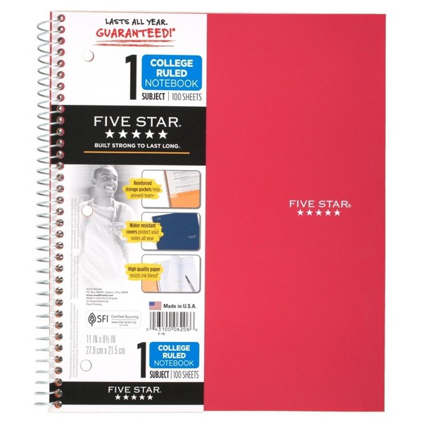 Five Star 1 Subject Notebooks product image